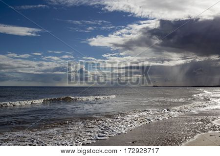 Storm brewing over Walberswick Beach Suffolk England
