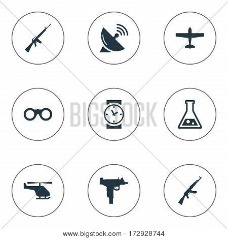 Set Of 9 Simple Military Icons. Can Be Found Such Elements As Field Glasses, Signal Receiver, Chemistry And Other.