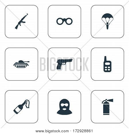 Set Of 9 Simple Army Icons. Can Be Found Such Elements As Paratrooper, Field Glasses, Kalashnikov And Other.