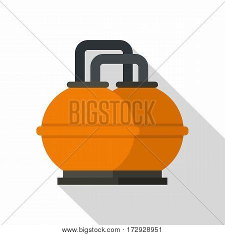 Orange fuel storage tank icon. Flat illustration of orange fuel storage tank vector icon for web isolated on white background