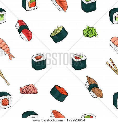 Japanese seafood sushi rolls seamless pattern. Traditional food. Nori temaki nigiri futomaki Colorful