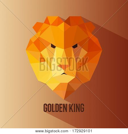 Geometric vector animal lion head golden king colored logotype