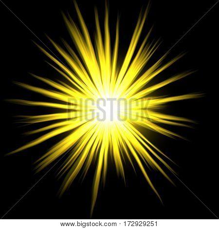 Yellow sunny star on black background decor
