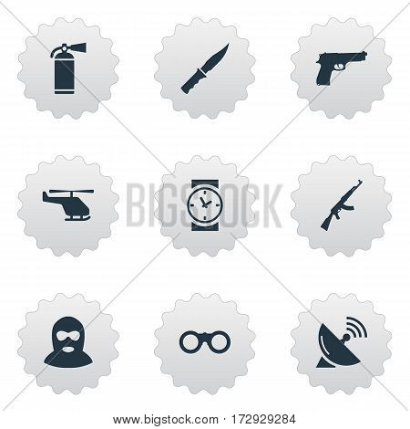 Set Of 9 Simple Military Icons. Can Be Found Such Elements As Helicopter, Kalashnikov, Watch And Other.