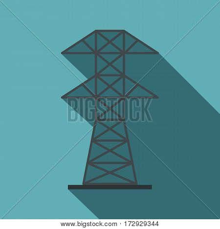 Electric power station icon. Flat illustration of electric power station vector icon for web isolated on baby blue background