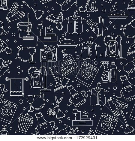 House cleaning seamless vector pattern. For cleaning companies, laundries and dry cleaners service. For textiles, web and print design.