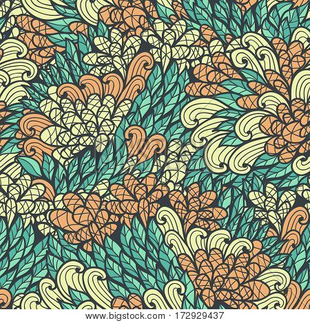 Seamless floral vinage orange and blue hand drawn doodle pattern