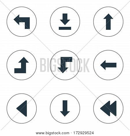 Set Of 9 Simple Arrows Icons. Can Be Found Such Elements As Increasing, Rearward, Pointer And Other.