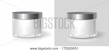 Cosmetic glass jar. Skin care bottles for gel, liquid, lotion, cream. Beauty product package isolated, vector illustration.