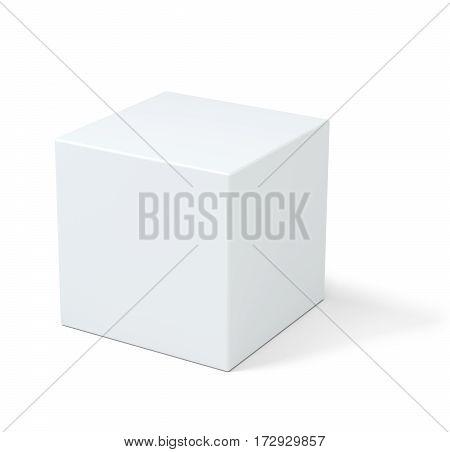 White box. Pedestal. Stand Empty podium 3D rendering