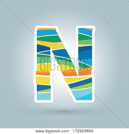 Vector abstract N geometric letter logo template. Overlapping transparent wave elements composition