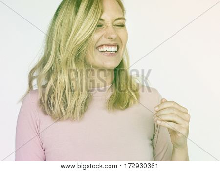 Woman Face Expression Cheerful Portrait Studio