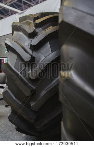 Big tractor tires - rubber wheels for agricultural tractor, close up
