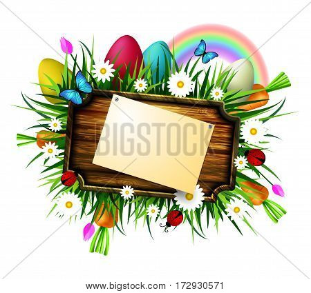 Happy Easter wooden board with pined paper on a loan with flowers blue butterflyes easter eggs carrots and ladybug