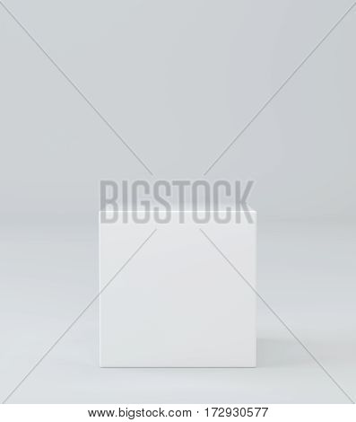 White cube on wall studio background. 3d rendering