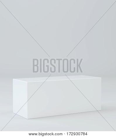 Empty box pedestal for display. Platform for design. 3D rendering
