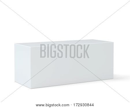 Empty box pedestal for display. Platform for design. 3D rendering isolated on white background