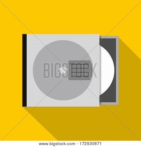 CD or DVD case icon. Flat illustration of CD or DVD case vector icon for web isolated on yellow background