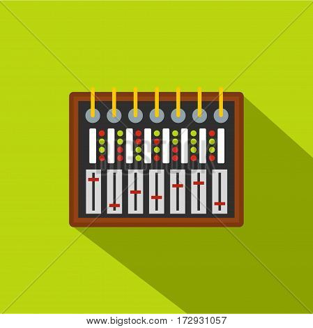 Studio sound mixer icon. Flat illustration of studio sound mixer vector icon for web isolated on lime background