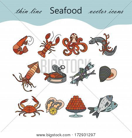 Seafood color vector icons set. Symbols of various delicacies - oyster, cancer, molluscs, mussels, eel, caviar, anchovies, octopus and dorado