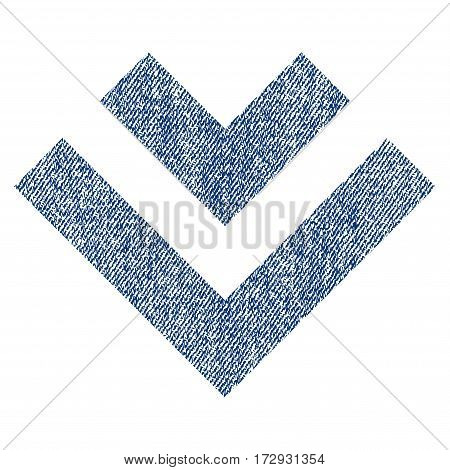 Shift Down vector textured icon for overlay watermark stamps. Blue jeans fabric vectorized texture. Symbol with dirty design. Blue ink rubber seal stamp with fiber textile structure.