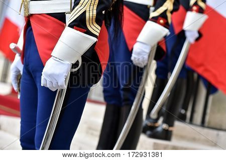 Detail with republican guards of honor during a welcome ceremony