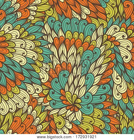 Seamless floral orange and blue bright summer doodle pattern