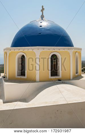An image of a church from the santorini capital town of fira at the non caldera site of town.