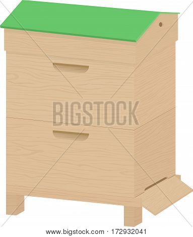 Wooden Beehive with green roof on a white background. Traditional hive. Cartoon illustration beehive