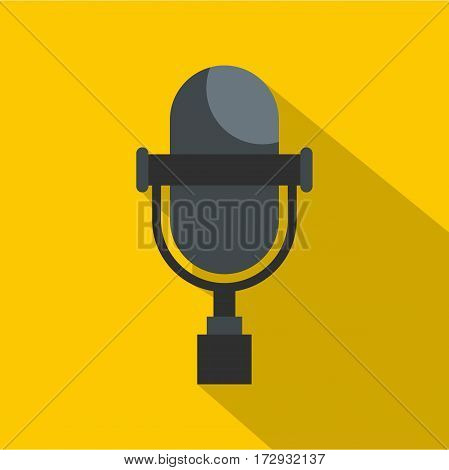 Vintage classic microphone icon. Flat illustration of vintage classic microphone vector icon for web isolated on yellow background