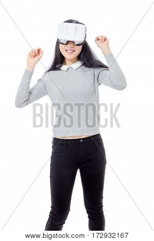 Teenage Girl Dances With 3D Goggles