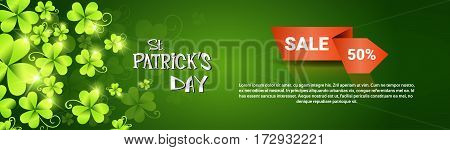 Saint Patrick Day Beer Festival Special Offer Discount Sale Banner Flat Vector Illustration