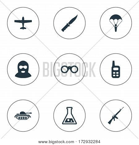 Set Of 9 Simple Military Icons. Can Be Found Such Elements As Field Glasses, Terrorist, Heavy Weapon And Other.