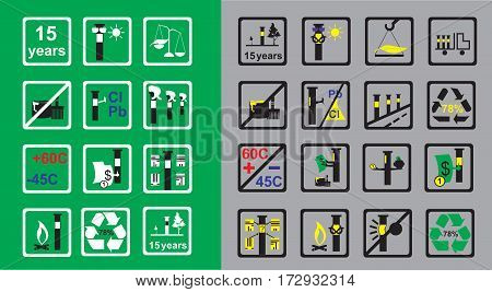 Markings in areas of the pipeline and properties of measuring devises on green and grey background vector illustration