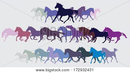 Set of vector colorful galloping and trotting horses silhouettes
