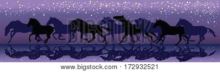 Background with dark horses galloping in the night under the stars vector Illustration