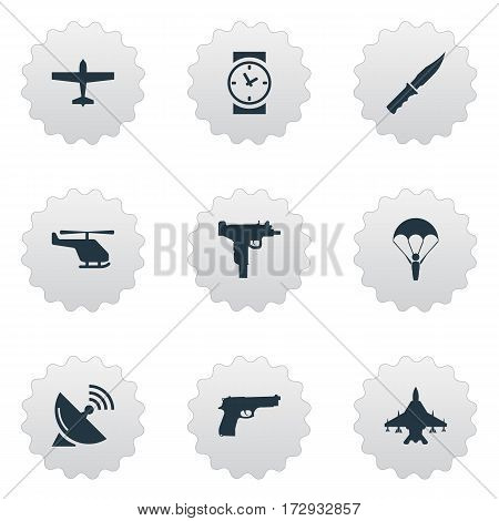 Set Of 9 Simple Army Icons. Can Be Found Such Elements As Cold Weapon, Firearm, Sky Force And Other.