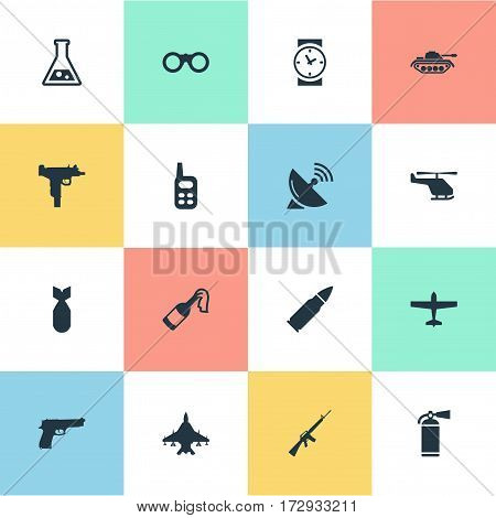 Set Of 16 Simple Battle Icons. Can Be Found Such Elements As Signal Receiver, Helicopter, Extinguisher And Other.