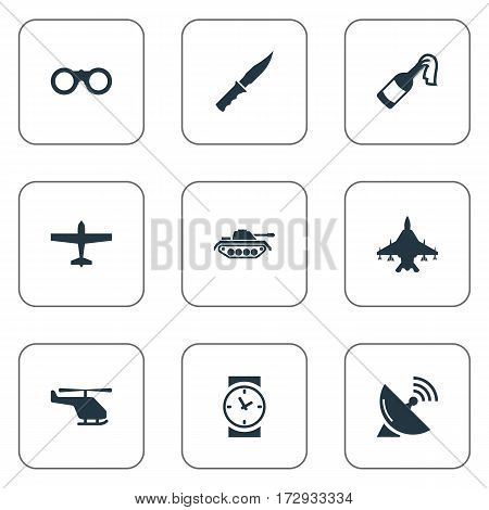 Set Of 9 Simple Terror Icons. Can Be Found Such Elements As Helicopter, Air Bomber, Signal Receiver And Other.