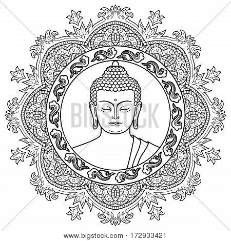 Buddha head with round mandala decoration. Sign for tattoo, textile print, mascots and amulets. Black and white coloring page