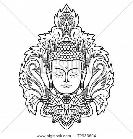 Buddha head with floral decoration. Sign for tattoo, textile print, mascots and amulets. Black and white coloring page