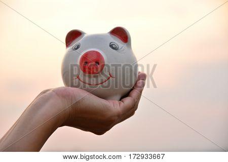 hand holding piggy bank idea concept under the sky