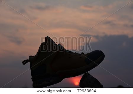 sport footwear and silhouette style under the sky