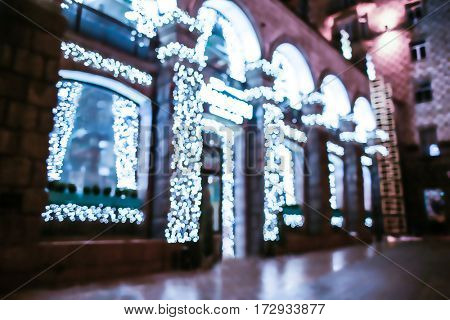 Storefront at Christmas night, blurred background