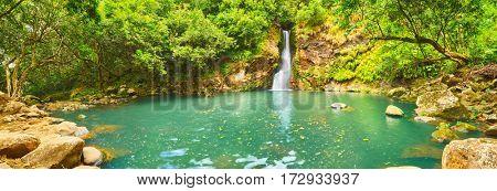 Scenic Cascade Chamouze waterfall. Mauritius island. Panorama
