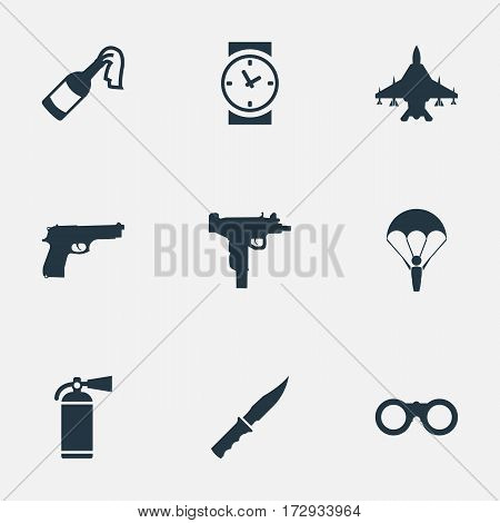 Set Of 9 Simple Military Icons. Can Be Found Such Elements As Pistol, Paratrooper, Field Glasses And Other.