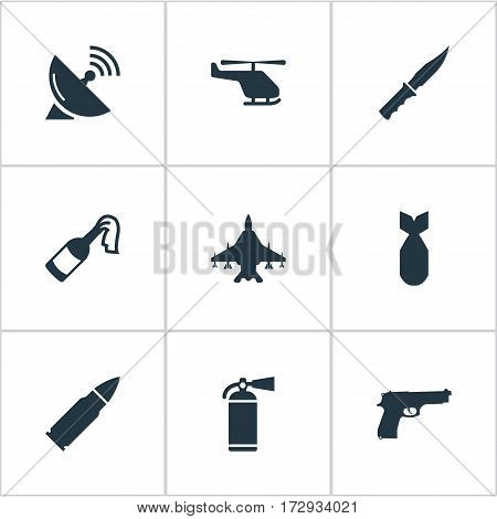Set Of 9 Simple War Icons. Can Be Found Such Elements As Extinguisher, Helicopter, Nuke And Other.