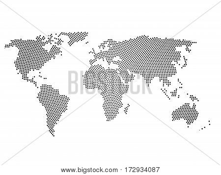Black halftone world map of small dots in radial arrangement. Simple flat vector illustration on white background.