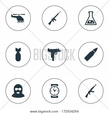 Set Of 9 Simple Army Icons. Can Be Found Such Elements As Rifle Gun, Ammunition, Nuke And Other.