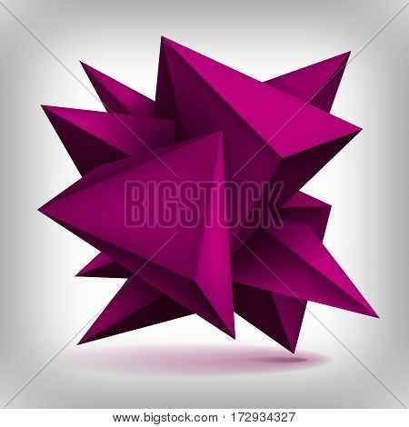Volume geometric shape, 3d quartz crystals, abstraction low polygons object, vector design forms
